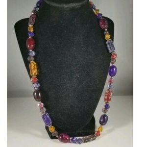 Vintage Red Purple Yellow Plastic Beaded Necklace